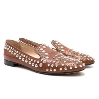 Prada Brown Studded Loafers