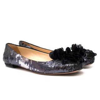 Prada Black Sequin Flats