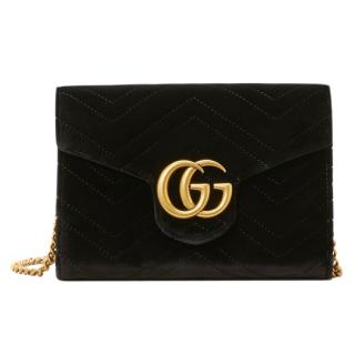 Gucci Marmont black velvet shoulder bag