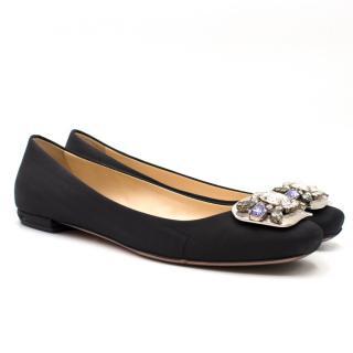 Prada Black Embellished Satin Ballet Flats