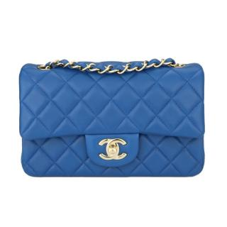 CHANEL Mini Blue Rectangular Lambskin Bag