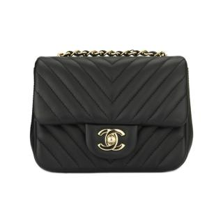 CHANEL Chevron Black Lambskin Square Mini Bag