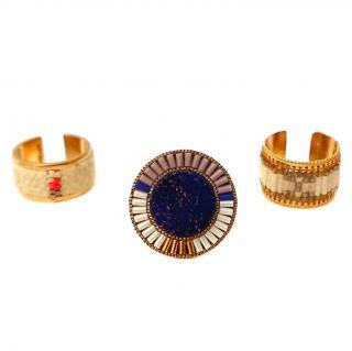 Satelite Paris Bead & Agate Stack Rings
