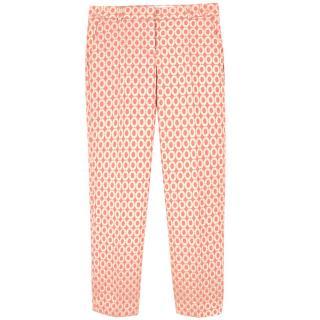J. Crew Pink and Gold Jacquard Capri Pants