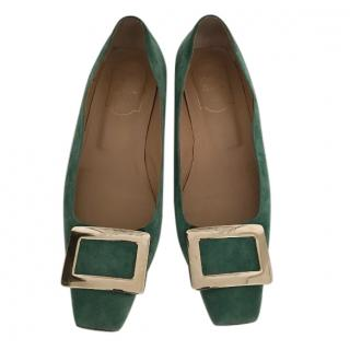 Roger Vivier green suede shoes