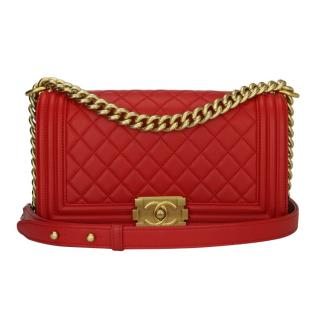 Chanel Medium Quilted Red Lambskin Boy Bag