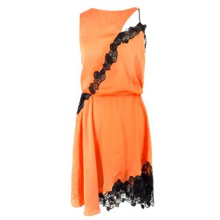 Versace Orange Lace Cut-out Sleeveless Dress