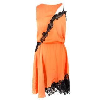 Versace Orange Lace Cut-out Sleeveless Dress