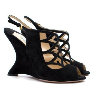 Prada Black Suede Strappy Wedges