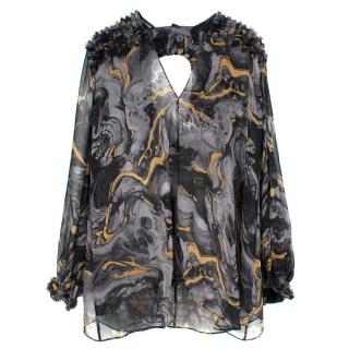 Thomas Wylde Sheer Patterned Silk Blouse