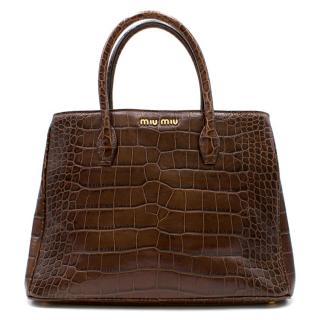 Miu Miu Croc Embossed Tote Bag