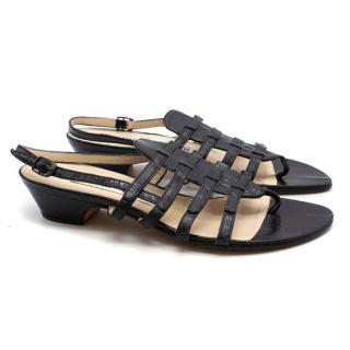 Manolo Blahnik Black Low-Heeled Sandals