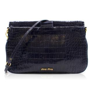 Miu Miu Croc Embossed Clutch/Crossbody Bag