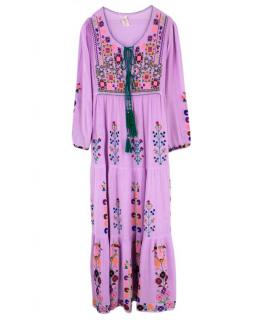 Blue Embroidered Maxi Dress