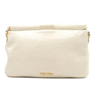 Miu Miu Croc Embossed Clutch/Crossbody Bag
