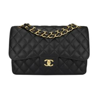 Chanel Black Caviar Double Flap Jumbo Bag