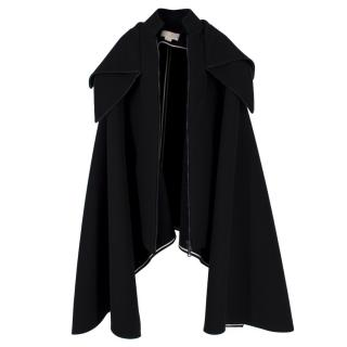 Antonio Berardi Black Wool-Blend Cape