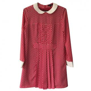 Tara Jarmon polka dot shift dress with Peter Pan collar