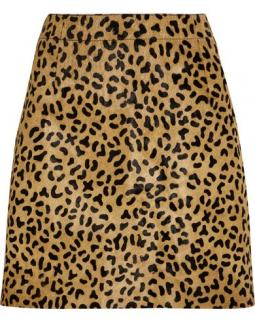 McQ Alexander McQueen Leopard Print Calf-Hair Mini Skirt