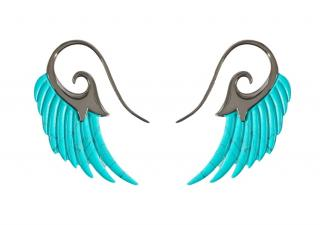 Noor Fares turquoise and rhodium-plated gold Wings earrings