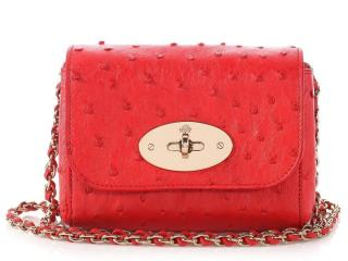 Mulberry Mini Lily Red Ostrich Bag