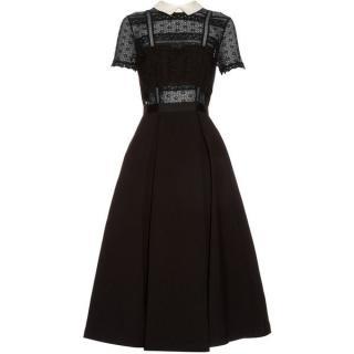 Self Portrait Black Fleur Lace Midi Dress