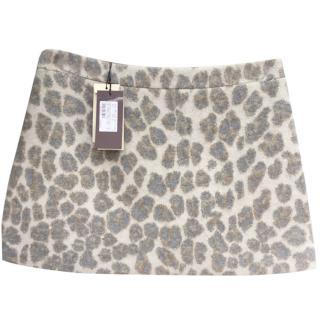 Stella McCartney Wool Blend Leopard Print Mini Skirt