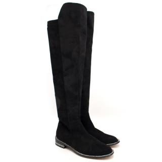 Givenchy Knee-Length Suede Chain Boots