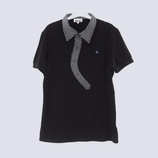 Vivienne Westwood Black Polo Top With Gingham Asymmetrical Collar