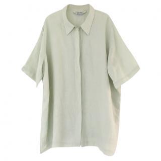Marina Rinaldi Pale Green Oversized Linen Shirt Dress