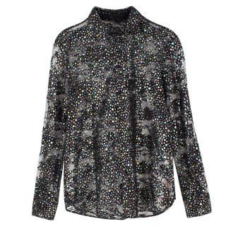 Saint Laurent Metallic Star embellished Lace Shirt