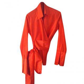 Carolina Herrera red silk wrap blouse