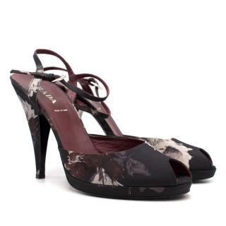 Prada Peep-Toe Floral Heeled Pumps