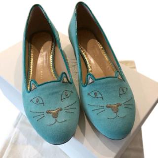Charlotte Olympia Turquoise Kitty Flats