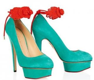 Charlotte Olympia Eternally Dolly Knot Suede Platform Pumps