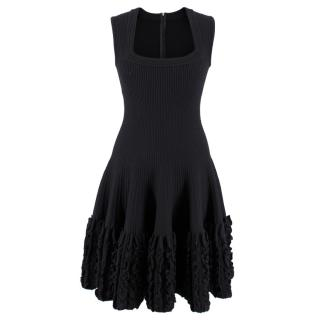 Alaia Paris Black Wool Sleeveless Ruffle Dress