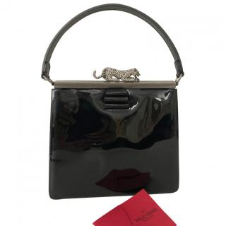 Valentino Patent Leather Panther Top Handle Bag