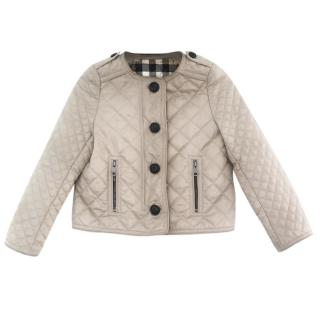 Burberry Girl's Beige Quilted Button Up Jacket