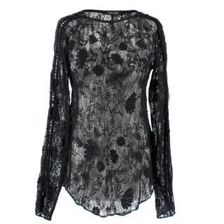 Isabel Marant Black Sheer Lace Top