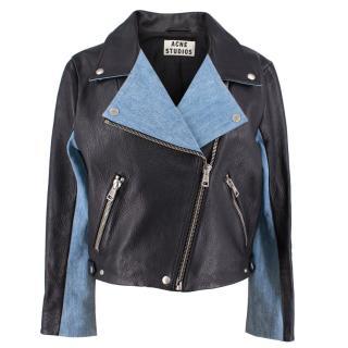 Acne Studios Black and Denim Biker Jacket