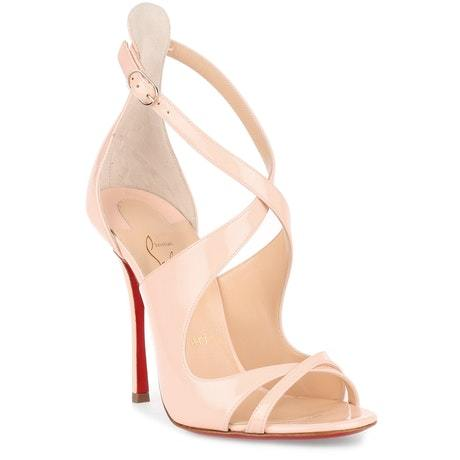 huge selection of 36345 8e121 Christian Louboutin Malefissima Nude Patent Sandals