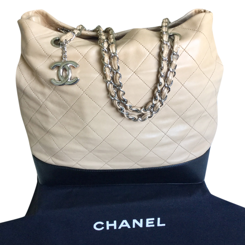 CHANEL Quilted Shopper Bag - Beige/Black
