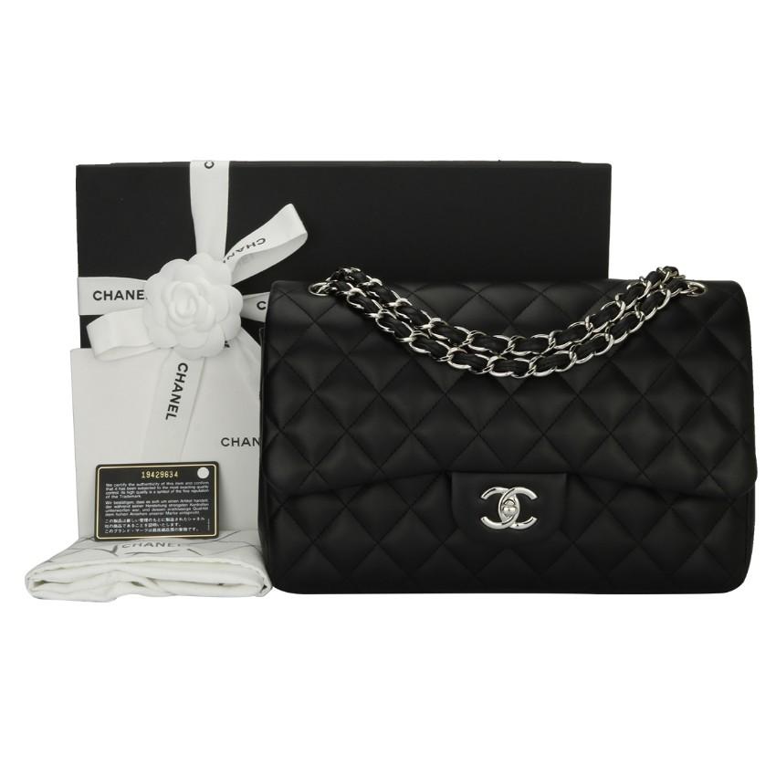 4252dbff4dbf Chanel Classic Jumbo Double Flap Black Lambskin Bag | HEWI London