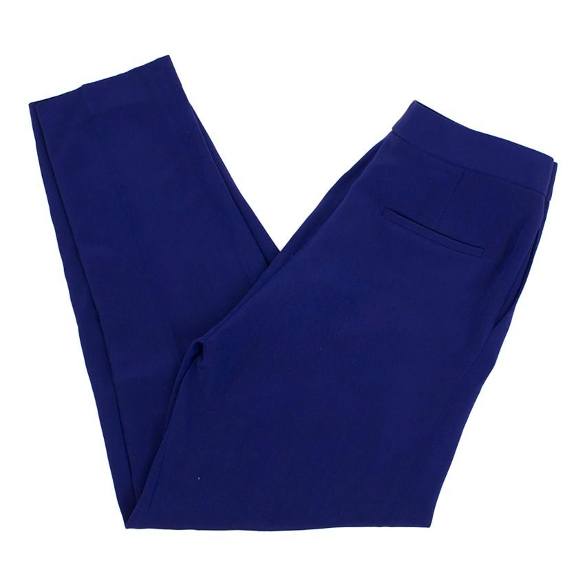 Tom Ford Blue Silk Straight Leg Trousers
