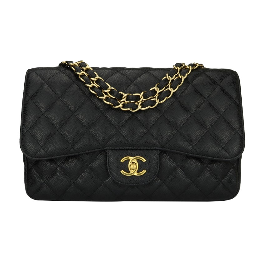 4b3a7df569079 Chanel Classic Single Flap Jumbo Black Caviar Bag | HEWI London