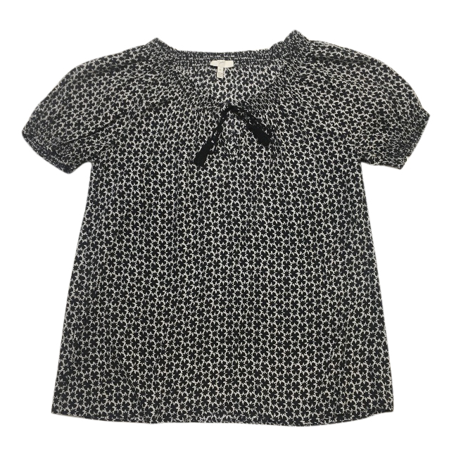 Joie black and white silk top