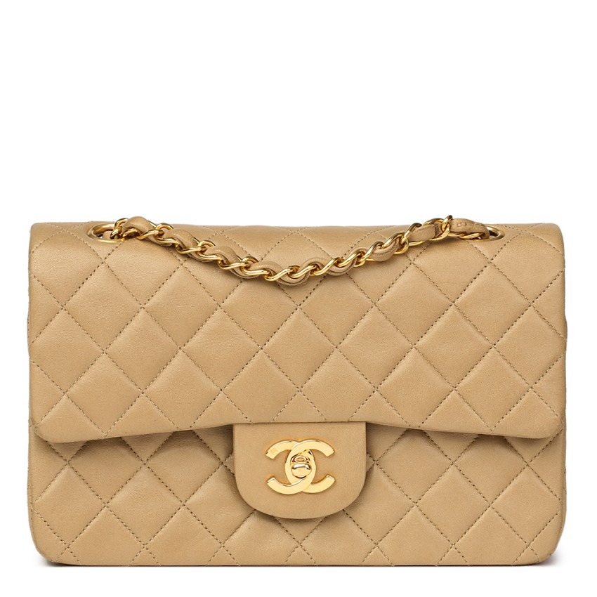 14f7db2be7a7 Chanel Beige Lambskin Vintage Small Classic Double Flap Bag   HEWI ...