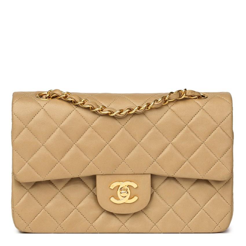 50e7b999c52a12 Chanel Beige Lambskin Vintage Small Classic Double Flap Bag146879 ...