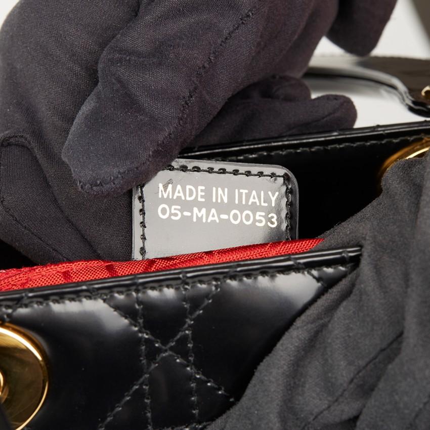 e739f75052 Christian Dior Black Glazed Calfskin Medium Lady Dior Bag. 26. 12345678910
