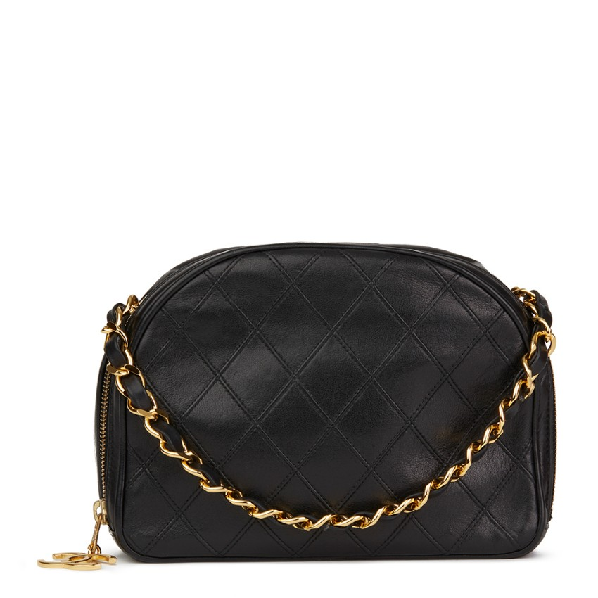 7afbe3cf43bde Chanel Black Quilted Lambskin Vintage Timeless Charm Bag